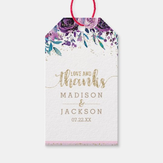 Purple Floral Champagne Gold Wedding Love & Thanks