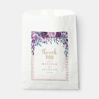 Purple Floral Champagne Gold Wedding Thank You Favour Bags