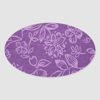 Purple Floral Cloth Effect Oval Sticker