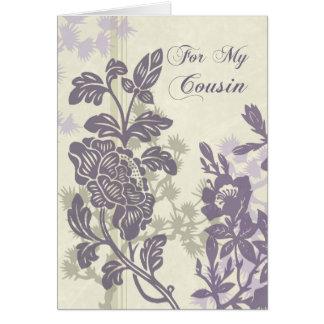 Purple Floral Cousin Bridesmaid Thank You Card