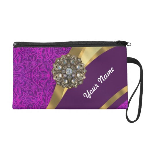 Purple floral damask  gold swirl wristlet clutches