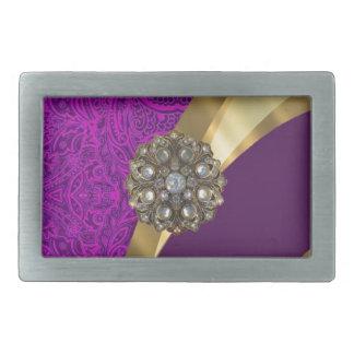 Purple floral damask  gold swirl belt buckles