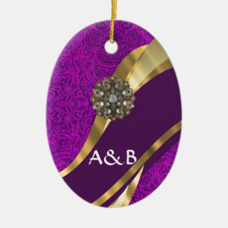 Purple floral damask  gold swirl christmas ornament