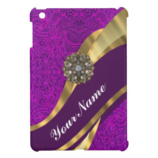 Purple floral damask  gold swirl iPad mini cover