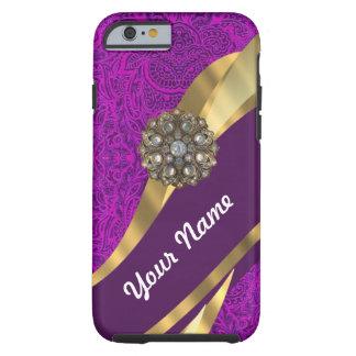 Purple floral damask gold swirl tough iPhone 6 case