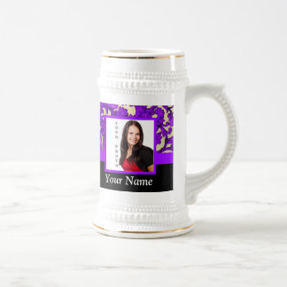 Purple floral damask photo template beer stein