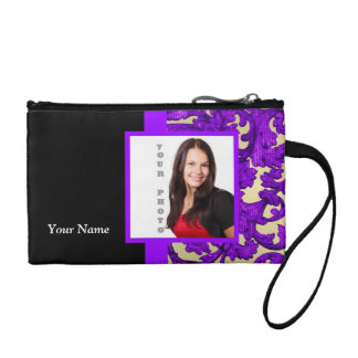 Purple floral damask photo template coin purse
