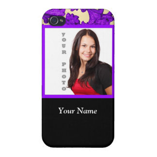 Purple floral damask photo template iPhone 4/4S covers