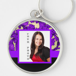 Purple floral damask photo template key ring