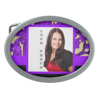 Purple floral damask photo template oval belt buckle