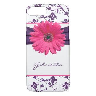 Purple Floral Damask Pink Gerber Daisy iPhone 8/7 Case