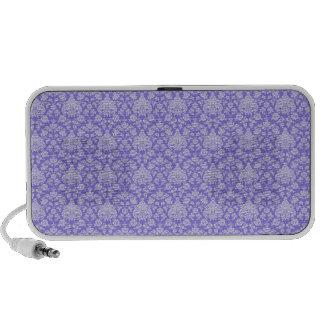 Purple Floral Damask Travel Speaker