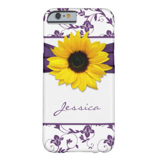 Purple Floral Damask Yellow Sunflower iPhone 6 cas Barely There iPhone 6 Case