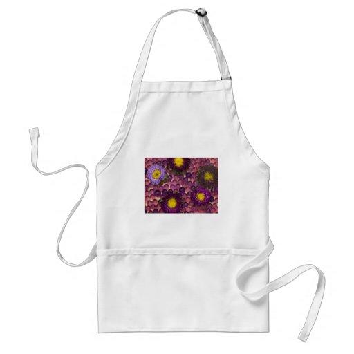 purple floral decoration apron