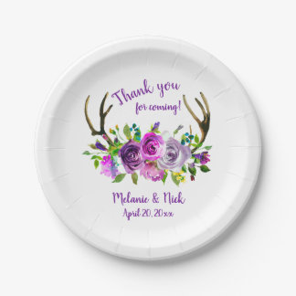 Purple floral deer antlers bridal shower decor paper plate