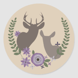 Purple Floral Deer Sticker