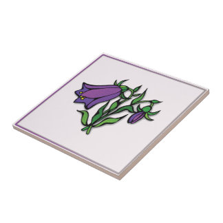 Purple Floral Designed Tile