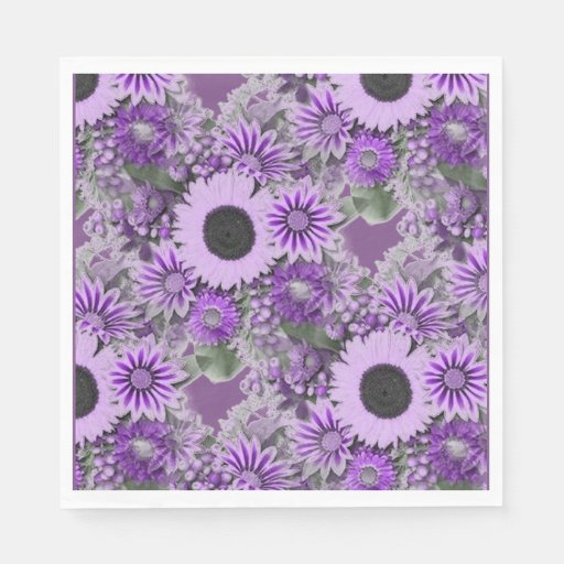 Purple Floral Disposable Napkin