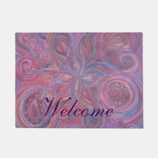 purple floral doormat