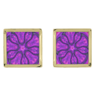 purple floral dream gold finish cufflinks