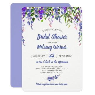 Purple Floral drop bridal shower invite