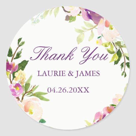 Purple Floral Elegant Thank You Wedding Sticker