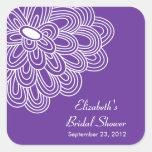 Purple Floral Flowers Bridal Shower Favour Sticker