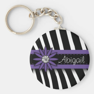 Purple Floral Gem & Zebra Pattern Basic Round Button Key Ring