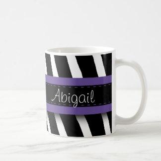 Purple Floral Gem & Zebra Pattern Basic White Mug