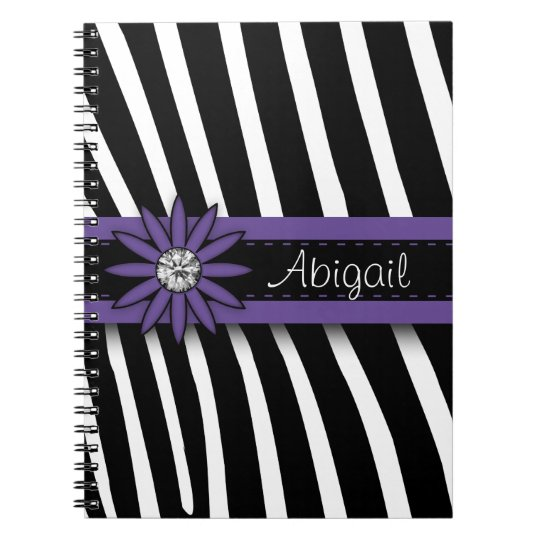 Purple Floral Gem & Zebra Pattern Notebook