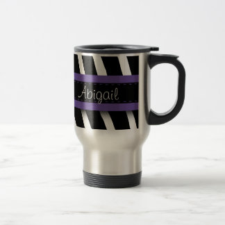 Purple Floral Gem & Zebra Pattern Stainless Steel Travel Mug