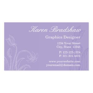 Purple Floral Graphic Designer Business Cards
