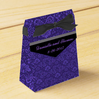 Purple Floral Gray Black Wedding Favor Box
