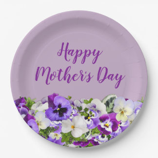 Purple Floral Happy Mother's Day Paper Plate
