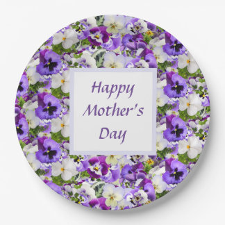 Purple  Floral Happy Mothers Day Paper Plate