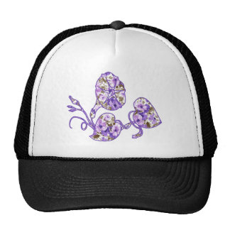 Purple Floral Mesh Hats