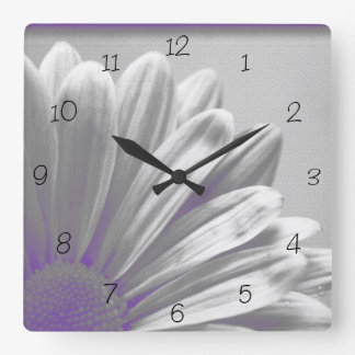 Purple Floral Highlights on Gray Square Wall Clock