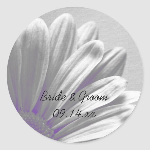 Purple Floral Highlights Wedding Envelope Seals Sticker
