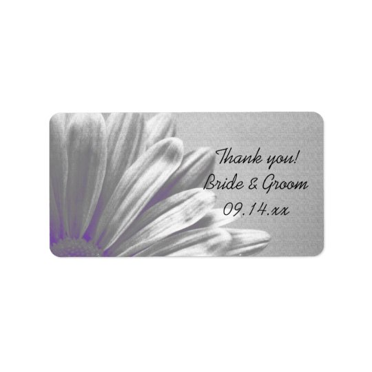 Purple Floral Highlights Wedding Thank You Tags Address Label