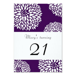 Purple Floral Invitation 9 Cm X 13 Cm Invitation Card