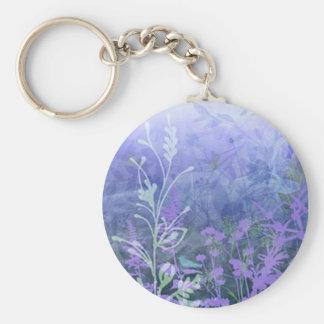 Purple Floral Key Chain