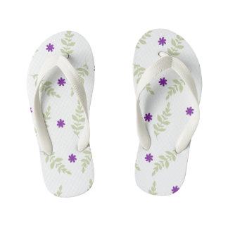 Purple Floral Kids Flip Flops