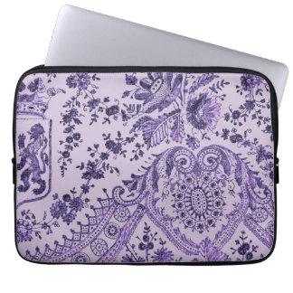 Purple Floral Lace Pattern Laptop Sleeve