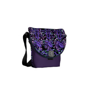 Purple Floral Layers Design Shoulder Bag Commuter Bag