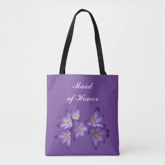 Purple Floral Maid of Honor Wedding Tote Bag