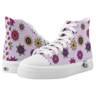 Purple Floral Mandala Hi-Top Shoes