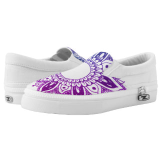 Purple Floral Mandala Trendy Design Slip-On Shoes