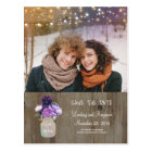 Purple Floral Mason Jar Rustic Photo Save the Date Postcard