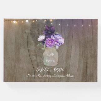Purple Floral Mason Jar Rustic Wedding Guest Book