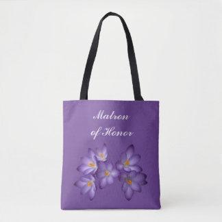 Purple Floral Matron of Honor Wedding Tote Bag